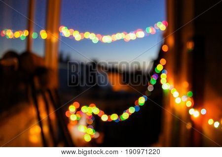 blurred abstract background farewell party lights bokeh warm memories