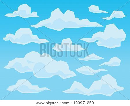 Sky in geometric flat polygonal style. Set of large and small faceted white clouds of different forms on blue gradient background. Vector illustration. Element for your environment scene.