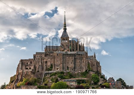 mont saint michel medieval fortress in normandy France inscribed on the unesco world heritage list