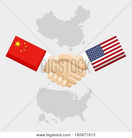Business partnership connection concept. flags of United States and China overprinted the handshake. Vector illustration.