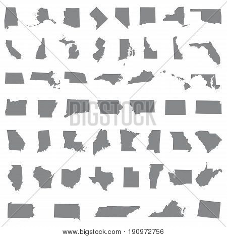 Icons States map. America states map icons on a white background.