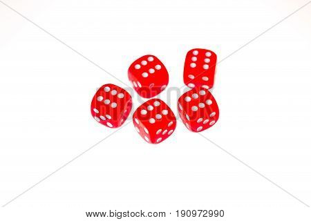 Five red dice each showing a six on the upper face isolated against a white background