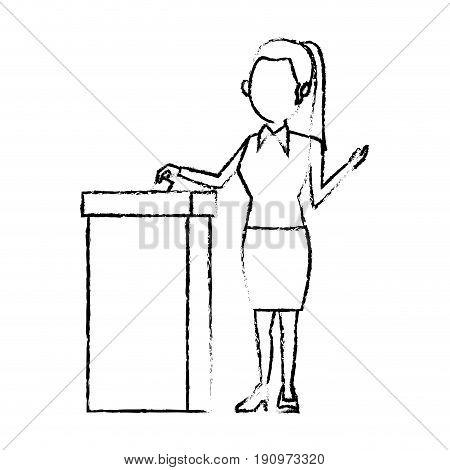 cartoon woman vote at ballot box election vector illustration