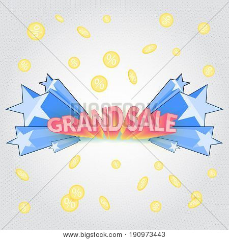 Grand sale cartoon banner. Promotional banner with blast of blue stars and falling coin.