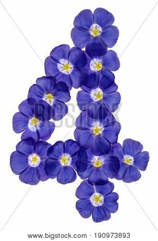 Arabic Numeral 4, Four, From Blue Flowers Of Flax, Isolated On White Background