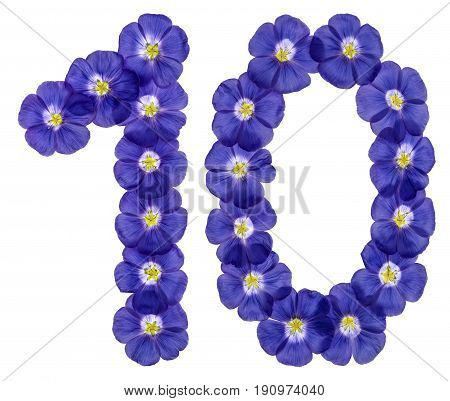Arabic Numeral 10, Ten, From Blue Flowers Of Flax, Isolated On White Background