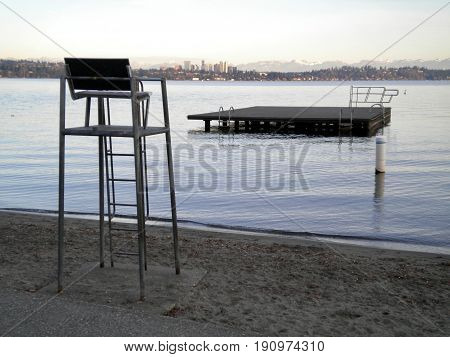 Placid, quiet beach, Lake Washington and Bellevue skyline.