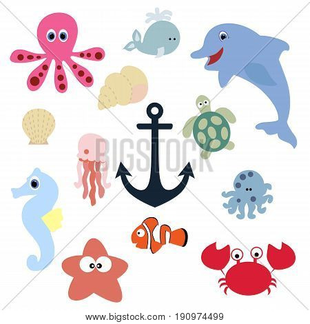 set of cute baby animals. collection of badges and labels underwater creatures in a cartoon style. template vector illustration. baby shower