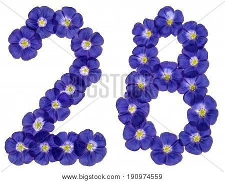 Arabic Numeral 28, Twenty Eight, From Blue Flowers Of Flax, Isolated On White Background