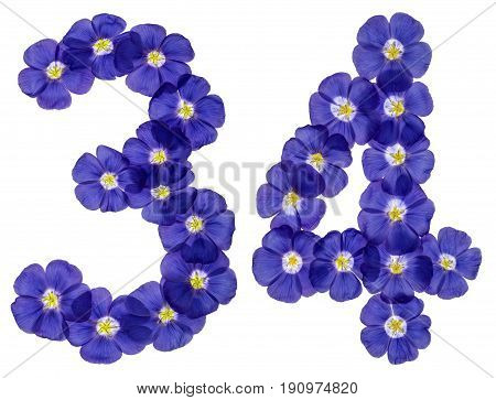 Arabic Numeral 34, Thirty Four, From Blue Flowers Of Flax, Isolated On White Background