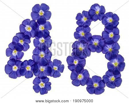 Arabic Numeral 48, Forty Eight, From Blue Flowers Of Flax, Isolated On White Background