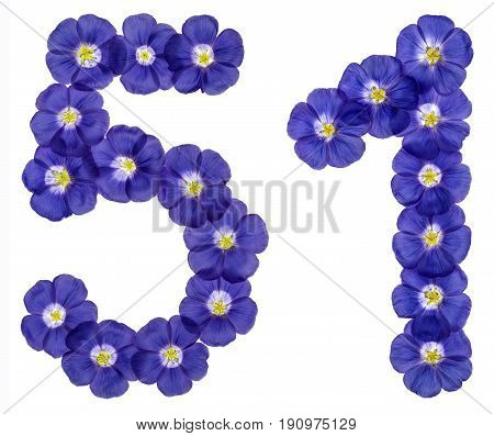 Arabic Numeral 51, Fifty One, From Blue Flowers Of Flax, Isolated On White Background
