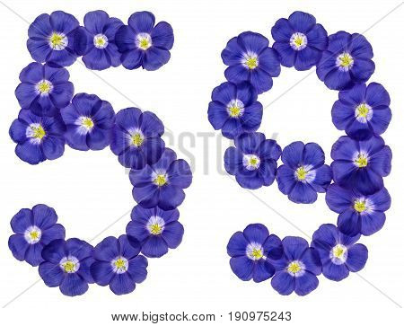 Arabic Numeral 59, Fifty Nine, From Blue Flowers Of Flax, Isolated On White Background