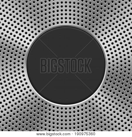 Metal technology background with circle perforated pattern, speaker grill texture, circular polished, brushed concentric texture, chrome, steel, silver and black round badge. Vector illustration.