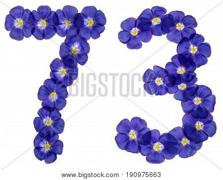 Arabic Numeral 73, Seventy Three, From Blue Flowers Of Flax, Isolated On White Background