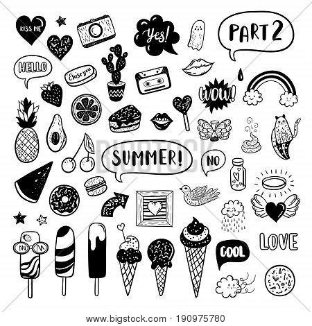 Vector Hand Drawn Summer Fashion Doodles: Ice Cream, Cactus, Watermelon, Camera, Rainbow, Cat, Cloud