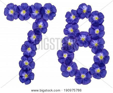Arabic Numeral 78, Seventy Eight, From Blue Flowers Of Flax, Isolated On White Background