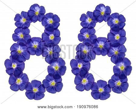 Arabic Numeral 88, Eighty Eight, From Blue Flowers Of Flax, Isolated On White Background