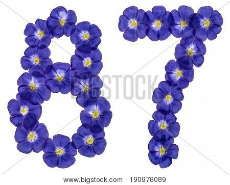 Arabic Numeral 87, Eighty Seven, From Blue Flowers Of Flax, Isolated On White Background