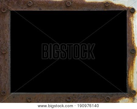 frame scrap with metallic rusted surface texture with iron rivets and black screen on metallized background. Neglect decay and ruin copy space