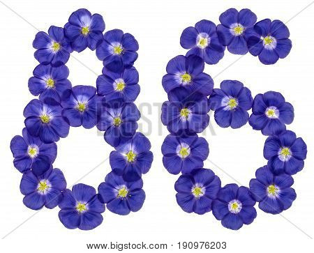 Arabic Numeral 86, Eighty Six, From Blue Flowers Of Flax, Isolated On White Background
