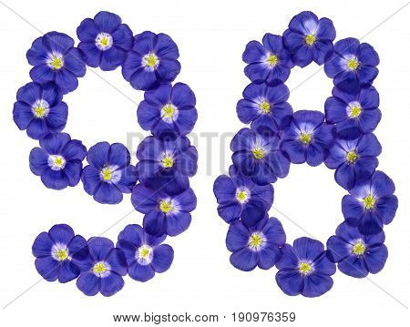 Arabic Numeral 98, Ninety Eight, From Blue Flowers Of Flax, Isolated On White Background