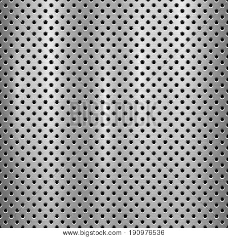 Metal technology background with with seamless circle perforated pattern and circular polished, brushed texture, chrome, silver, steel for design concepts, web, prints, wallpapers. Vector illustration