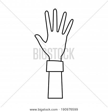 cartoon one hand palm shows five fingers vector illustration