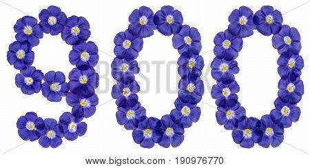 Arabic Numeral 900, Nine Hundred, From Blue Flowers Of Flax, Isolated On White Background