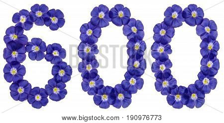 Arabic Numeral 600, Six Hundred, From Blue Flowers Of Flax, Isolated On White Background
