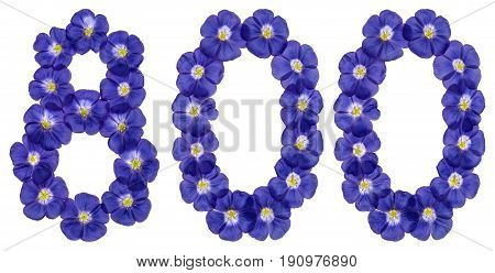 Arabic Numeral 800, Eight Hundred, From Blue Flowers Of Flax, Isolated On White Background