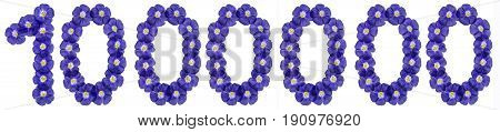 Arabic Numeral 1000000, One Million, From Blue Flowers Of Flax, Isolated On White Background