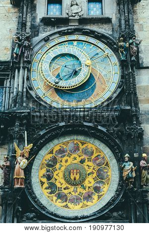 Close up of Prague Astronomical Clock, the third-oldest astronomical clock in the world and the oldest one still operating.