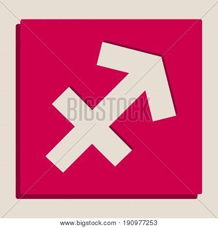 Sagittarius sign illustration. Vector. Grayscale version of Popart-style icon.