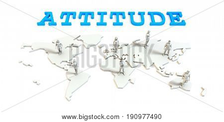 Attitude Global Business Abstract with People Standing on Map 3D Illustration Render