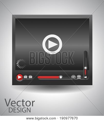 Vector realistic video player for web, interface