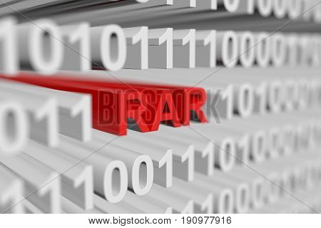 RAR as a binary code with blurred background 3D illustration