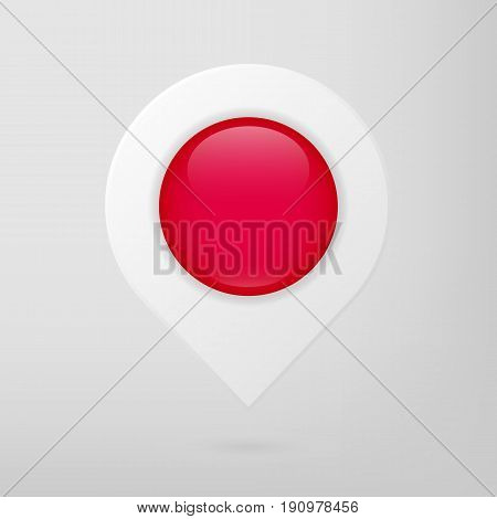 Red and white gloss Map Pointer vector. GPS navigator icon. Isolated location illustration. Infographic travel sign