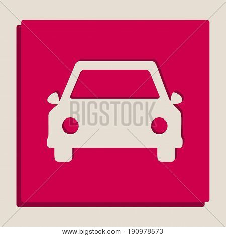 Car sign illustration. Vector. Grayscale version of Popart-style icon.
