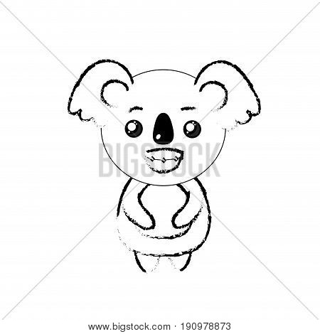 figure cute koala wild animal with face expression vector illustration