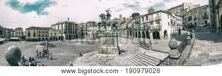 Trujillo Spain - June 4 2017: Panoramic view of Plaza Mayor at Trujillo Spain. Statue of Francisco Pizarro in the middle