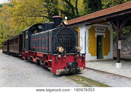The old traditional train on Mount Pelion in Thessaly, Greece