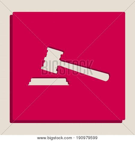 Justice hammer sign. Vector. Grayscale version of Popart-style icon.