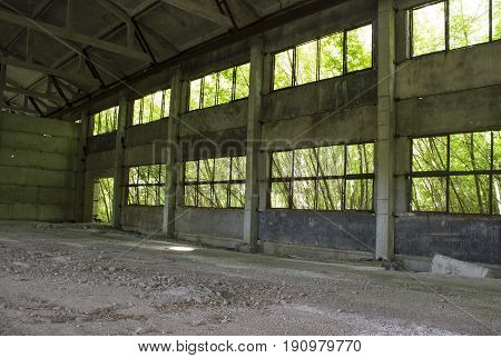 Remains from the window in hangar hangars