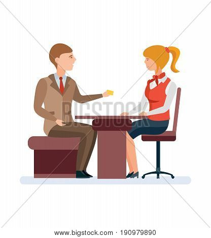 Bank service and staff. Girl, a bank employee, a consultant manager, serves a permanent client with a gold card at the office table. Premium Service. Vector illustration isolated in cartoon style.
