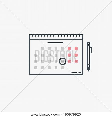 Monthly wall calendar with rings and pen. Circled date or event. Modern line style vector illustration. Marked day meeting or birthday.