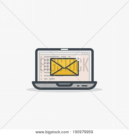 Email and laptop concept. You've got a mail notification sign. One new message. Modern line style vector illustration. Notebook with e-mail web page interface and envelope with notification.