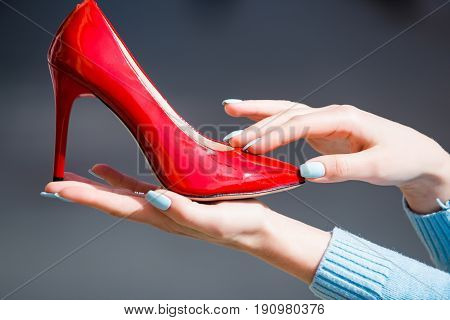 Shoe Red Color Leather On Female Hand