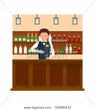 Staff set. Barista in apron in coffee shop. Bartender at work, standing at the bar counter, with bottle, pouring wine in a glass. Vector illustration in cartoon style.