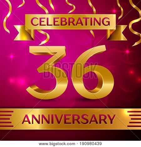 Thirty six Years Anniversary Celebration Design. Confetti and golden ribbon on pink background. Colorful Vector template elements for your birthday party. Anniversary ribbon